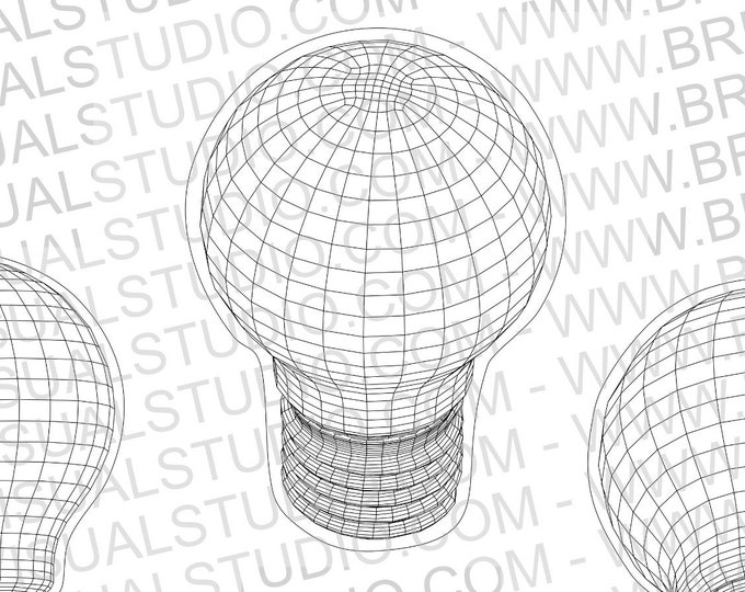 Wireframe Light Bulb - True vector source - Ideal for CNCs & Laser Cutters - 4 poses in eps svg jpg png dpp - Great for led lamps