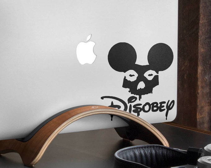 Disobey Decal Sticker  | Grunge Style Skull Laptop Decals | Fight for your rights moto, mac, Macbook Decal Sticker