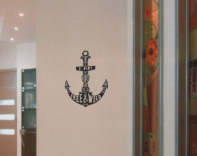 I am like the Sea - Free and Wild - Motivational silhouette decal / Sticker in Vinyl, Silhouette collection for wall decor