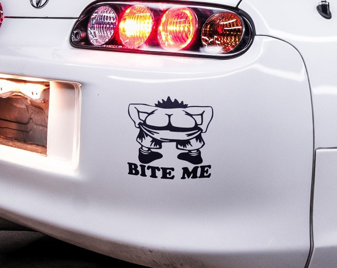 Bite Me - Japanese Domestic Market Themed Die Cut Vinyl Sticker, JDM Drift, Car Sticker, Decal, Fun, Funny Sticker, Car decals, Epic, Brutal