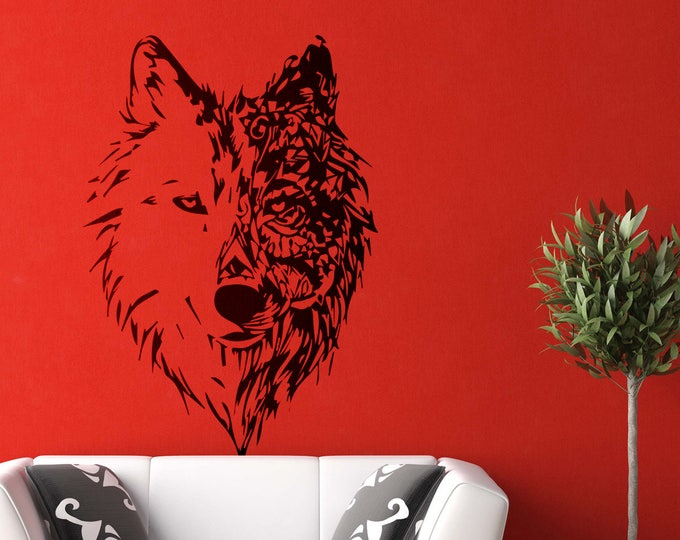 Featured listing image: Modern Style Mystic Wolf - Wall decals for magical minds, Many colors and Sizes available, Mystic collection