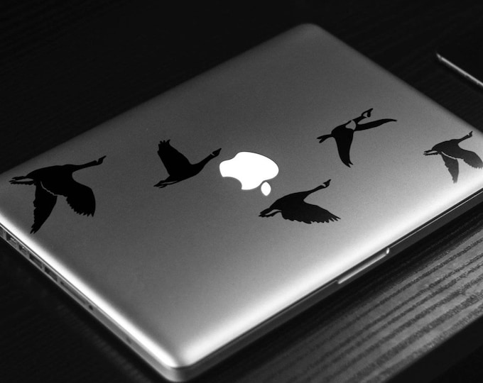 Flying Geese FlockDecal Sticker, Laptop Skin, mac, birds, Sky, gaggle, skein, team, wedge, cover decal, Macbook Decal Sticker