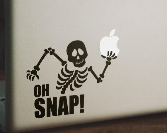 Oh Snap Decal Sticker, Vinyl Sticker Skin, Funny decals for your laptop, Skeleton, macbook, bones, skull, 15, Macbook Decal Sticker