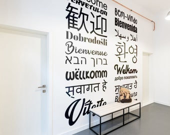 Welcome Decal in Multiple Languages - Decals for Home Decor, Lettering, Typography Wall Sticker, Welcome Entrance Hall Lettering Decals