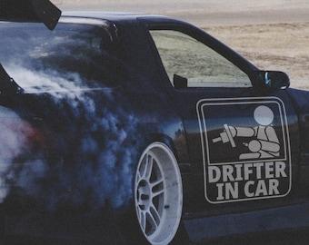 Drifter in car - Japanese Domestic Market - Vinyl Sticker, JDM Drift, Car Sticker, Decal, Fun, Funny Sticker, Car decals, Epic, Brutal