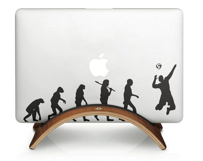 Man Evolution to VolleyBall Decal Sticker, Beach Sport Volley Ball Team, mac, Macbook Decal Sticker