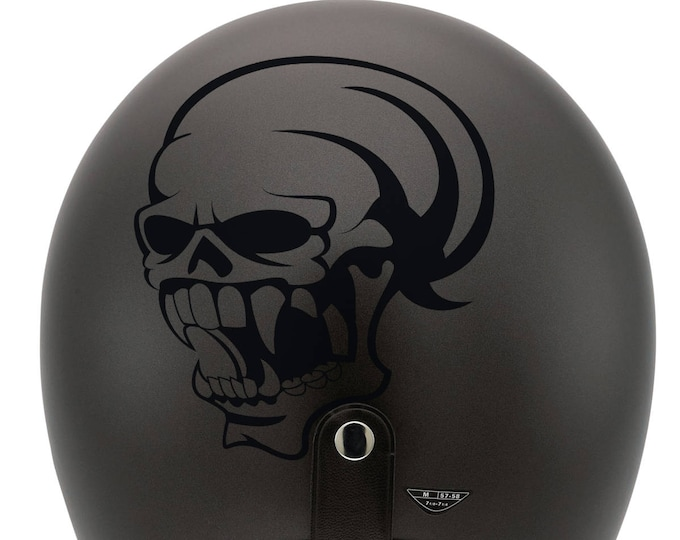 Skull with big teeth silhouette, Vampire Skull decal / sticker, Darkness, nosferatu, cranium, malignant spirit, monster, teeth