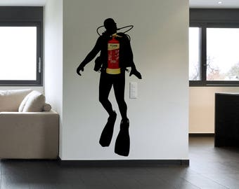 Fire Scuba Diver - Wall decals for Office Wall Decoration, Extinguisher disguise wall vinyl decal, Version 2.0