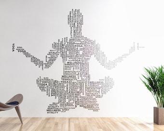 Yoga Wall Decal - Typography, Vinyl decals sticker, Meditation, Mural collection for wall decor, Namaste, Yogi, Hindu, Spiritual, Meditation