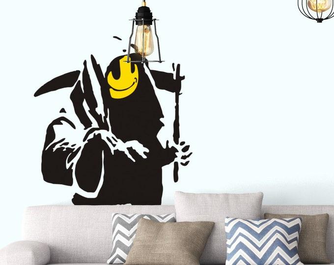 Banksy Smiling Grim Reaper Wall Decal, Wall Decor, Street art, Artist graffiti, Stencil, Urban walls, Wall art, Modern Art, Smile, Death