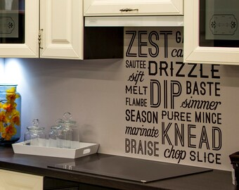 Kitchen Verbs wall decal - Zest, Garnish, Carmelize, Sautee, Drizzle, Sift, Baste, Simmer, Season, Puree, Mince, Marinate, Knead, Braise