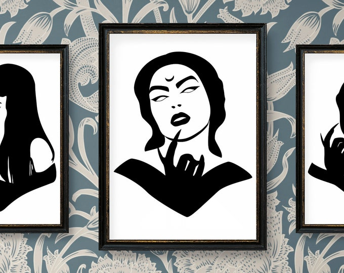 Gothic Girl No 3 - Ready for cut, print or engrave - Perfect for plotters, CNCs, Laser cutters - Instant File Delivery - SVG - GOTH SERIES
