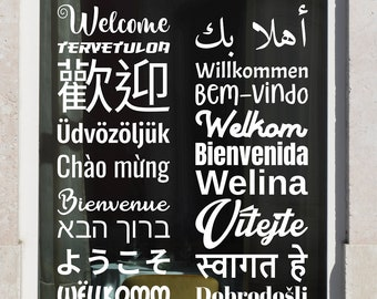 SVG | Welcome Decal in Multiple Languages // Vector Typography // Universally Compatible Cut Files // eps pdf psd dxf jpg png bmp