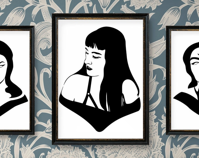Gothic Girl No 1 - Ready for cut, print or engrave - Perfect for plotters, CNCs, Laser cutters - Instant File Delivery - SVG - GOTH SERIES