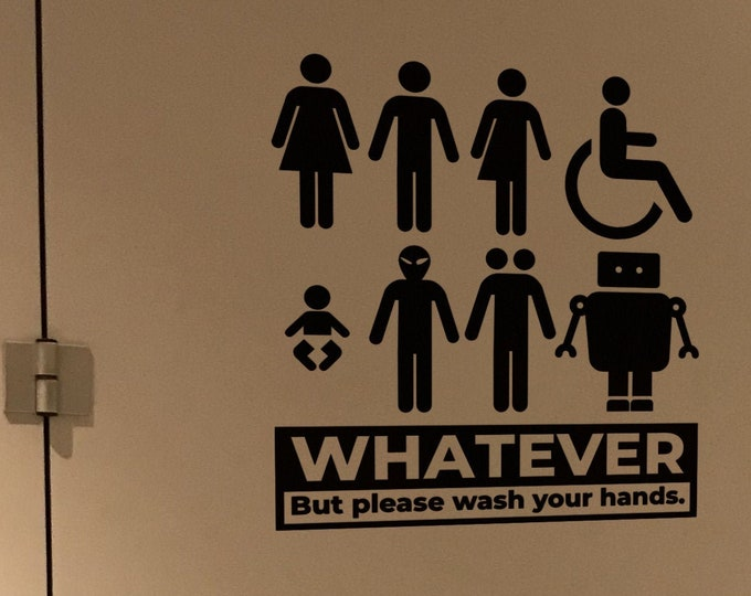 Please wash your hands - Funny toilet door sign decal - Perfect to recall the importance of hygiene rules - Prevention Awareness Decals
