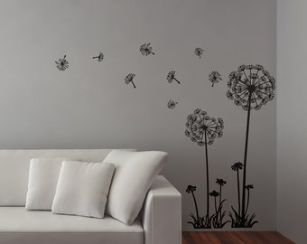 Dandelions Wall Decal Sticker, Dandelion at the wind Style Decals, Flowers, Spring, Sun, Grass, Nature, Seeds, Beautiful, Interior Design
