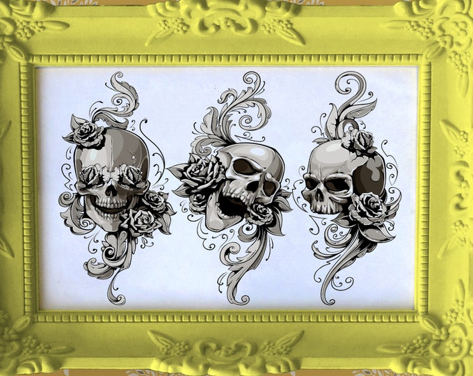 See no Evil, Ear no Evil and Speak no Evil - High Quality print made with Gloss Photo Paper - Three Wise Monkey (or humans) Skull adaptation