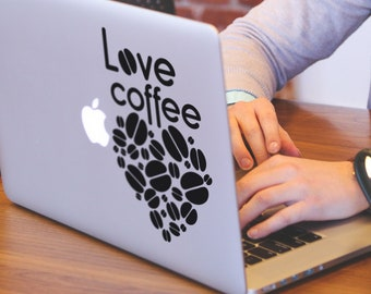 Love Coffee Decal Sticker, Mac, Macbook decal, Barista, Arabica, Americano, Expresso, Macchiato, Mocha, Latte, Macbook Decal Sticker