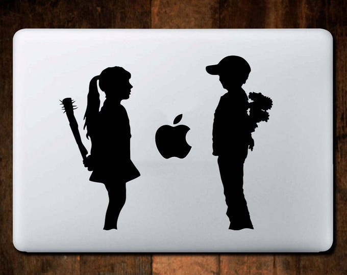 Banksy, Love and Hate Banksy Style Decal Sticker for Apple Macbook, Girl, Boy, Spikes, iMac, Skin, Vinyl, Diecut, kisscut, Laptop, mac