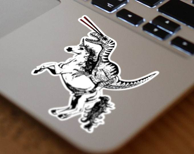 Epic Old School Sticker - Raptor riding a Unicorn while shooting lasers from his eyes, Retro , Monochrome, Black and White, Freaking awesome