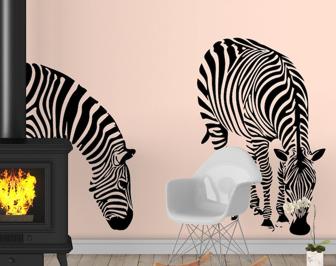 Two Zebras Silhouettes Relaxing and eating - Digital Item - Ready 2 cut decal or print [svg - pdf - dxf - png - jpg - ai - eps - plt - dwg]