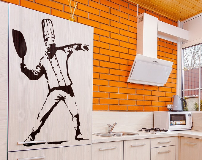 The Protesting Cooker - Wall Decal - Sticker, Banksy Style, Urban, Artist, Graffiti, Stencil, Walls Art, Wallart spray, Cocktail Molotov