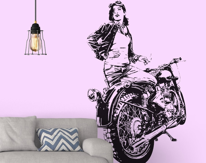 Motorcycle Girl - Living Fast Wall Decal / Sticker, Racing Spirit Motorcycle Decal for motorsport fans, Girls ride too, Café Racer