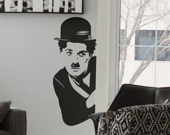Charles Chaplin, Hide, Wall Decals, Vinyl Decal for walls or windows, Sticker, Decals, Chaplin, Home improvement, Fun, Funny decal, Ver 2.0