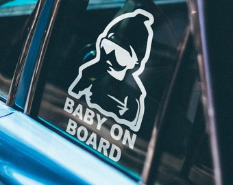 Baby on board Car Window Decal, Life saver warning in case of accident, Cautious Warning Sign, Cool and Funny decals for cars, Drivers