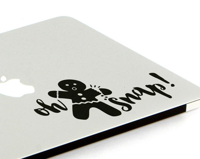 Oh Snap Decal Sticker, Gingerbread Man, Vinyl Sticker Skin, Funny decals for your laptop, macbook, 15, Macbook Decal Sticker, Air, Pro
