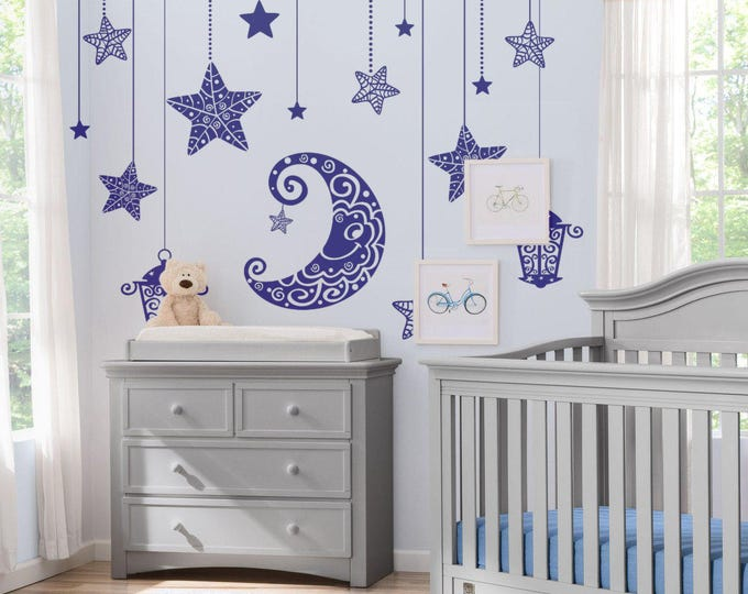Floral Night Style with Moon, Stars and Lamps Wall Decal - Nursery based theme - Wall decor for kids rooms, Children playrooms, Nurseries