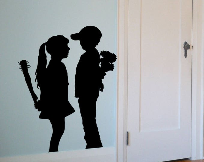Banksy Love and Hate vinyl decal sticker silhouette - An unpredictable outcome, Banksy Wall Decal, Silhouette collection for wall decor