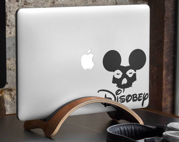 Disobey Decal Sticker    Grunge Style Mickey Skull Laptop Decals   Fight for your rights moto, mac, Macbook Decal Sticker