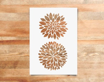 Puff Flowers Stencil - Reusable, 220 microns - Ideal for spray paint, Aerograph design, AirBrush templates - Durable Laser Cut Template