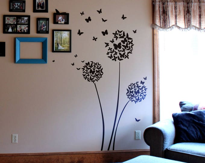 Butterfly Dandelion Decal Sticker, Dandelion at the wind Style Wall Decal, Wind Flowers Spring Sun Grass Nature Seeds Butterflies