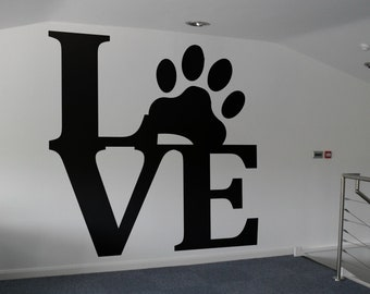 Love Pets - Typography Wall Decals for Home Decor, Lettering, Pets, Dog, Puppy, Doggy, Puppies, Puppy, Woof, Cat, Animals, Pet, Friend