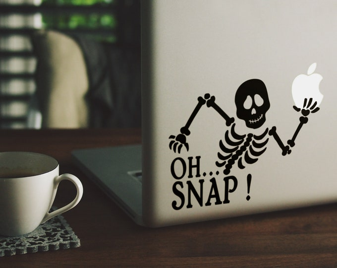 Oh Snap Decal Sticker, Vinyl Sticker Skin, Funny decals for your laptop, Skeleton, macbook, bones, skull, 15, Macbook Decal Sticker