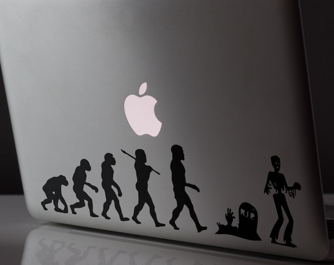 2 units of Man Evolution to Zombie, Decal Sticker Walking Dead, Macbook Sticker, decal, macbook pro, macbook air - FREE SHIPPING