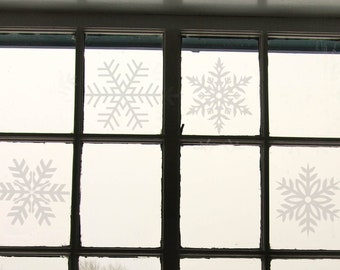 40 pieces of Snow Flakes - Winter and Christmas Decoration Decals, wall decal, Windows, Trees, Xmas, December, Falling Snow, Water crystals