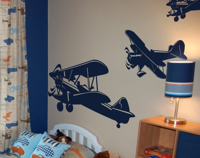 Three Bi Planes Cruising in the Sky, Sticker, Wall Decal, Decor for kids rooms, Children playrooms, Plane, Play Yards , Magical Minds