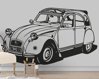 Citroën 2CV Classic Car Silhouette, Old, Vintage, Iconic Cars , Wall Decal, Sticker, Home decor and Improvement, Retro Decals, Citroen 2 HP