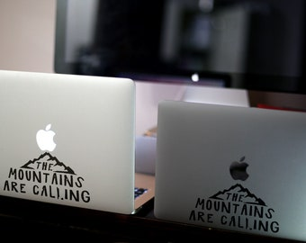 The Mountains Are Calling Decal Sticker, Apple macbook, Idea, Vinyl, Retina, Pro, laptops, Mac, Nature, Refreshing feeling, Sports