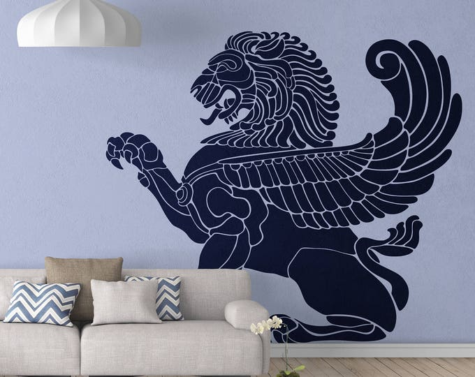 Flying Lion Wall Vinyl Decal Sticker, Wings Greek Mythology Griffin Zeus Apollo Eagle Strength Wisdom Decals Stickers