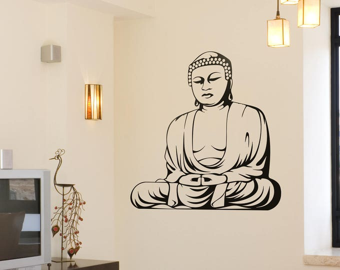 Traditional Buddha in meditation pose Vinyl Decal / Sticker, Many colors, Motivational Vinyl Poster collection for wall decor