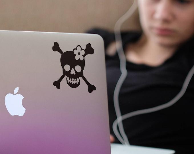 Cross Bones and Skull, Girly Skull, Sticker, Decals for Laptops, Pirate Girl, Macbook decal, mac, Macbook Decal Sticker