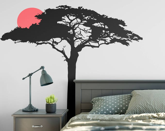 Acacia Tree at sunset Tree Wall Decal / Sticker, Wall decor in a modern nature style, Africa, Australia, Wattles