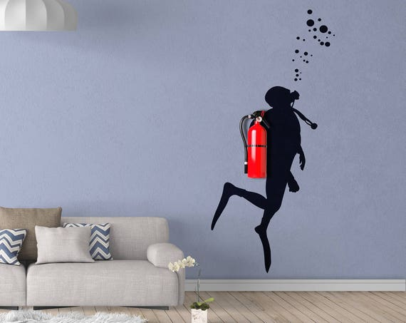 Fire Scuba Diver - Wall decals for Office Wall Decoration, Extinguisher disguise wall vinyl decal, Version 3.0