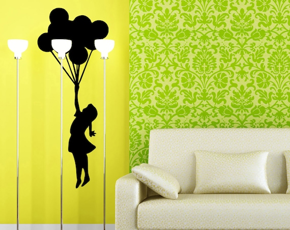 Banksy Silhouette, Girl flying to dream land using balloons, Vinyl wall decal, sticker, banksy, Artistic mural, wall decor, home improvement
