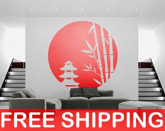 Japanese Origins Decal Sticker, Nippon Style, Inspiring Vinyl Poster Japan Nipponic Samurai Bamboo Manga Temple Sushi Rising Sun 日本