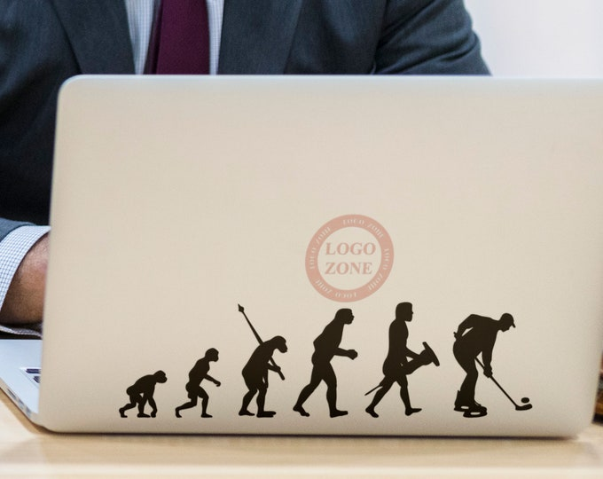2 units of Man Evolution in Hockey - Decal Sticker for Macbooks, Laptops, Laptop, Macbook, Stick, Ice Sport Bandy Roller Sledge